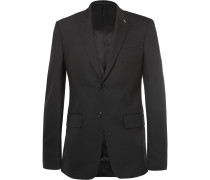 Black Slim-fit Wool-blend Suit Jacket
