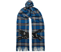 Fringed Embroidered Checked Wool Scarf