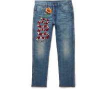 Slim-fit Embroidered Stonewashed Denim Jeans