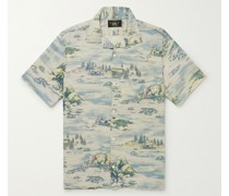 Convertible-Collar Printed Linen-Blend Shirt