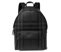 Checked Leather-trimmed Textured-pvc Backpack