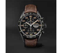 Carrera Automatic Chronograph 45mm Titanium And Leather Watch