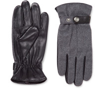 Guildford Mélange Flannel And Leather Gloves