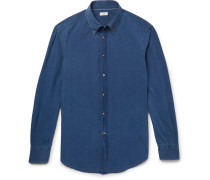 Slim-fit Button-down Collar Washed-chambray Shirt