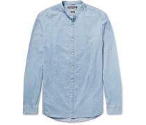 Slim-fit Grandad-collar Denim Shirt