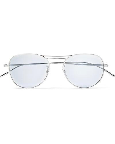 Cade Aviator-style Silver-tone Sunglasses