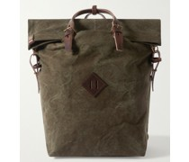Leather-Trimmed Cotton-Canvas Backpack