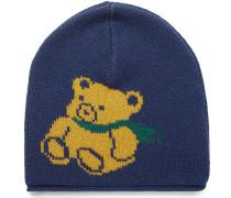 Teddy Bear-intarsia Wool Beanie