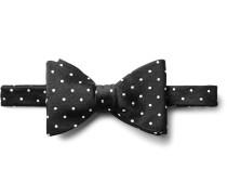 Pre-tied Polka-dot Silk-herringbone Bow Tie