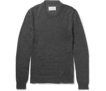 Slim-fit Distressed Mohair And Cotton-blend Sweater