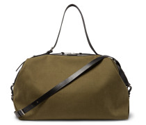 Convertible Leather-trimmed Canvas Holdall