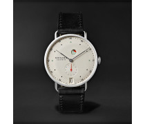 Metro Datum Gangreserve 37mm Stainless Steel and Leather Watch, Ref. No. 1101