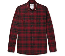 Studded Checked Cotton And Wool-blend Flannel Western Shirt
