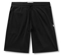 Wide-Leg Mélange Loopback Pima Cotton-Jersey Drawstring Shorts