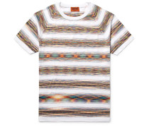 Slim-fit Space-dyed Knitted Cotton T-shirt