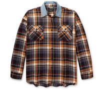Oversized Denim-trimmed Checked Wool Overshirt
