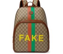 Logo-Appliquéd Leather-Trimmed Printed Monogrammed Coated-Canvas Backpack