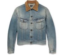 Corduroy-trimmed Washed-denim Jacket