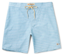 Long-length Striped Cotton-blend Swim Shorts
