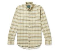 Slim-Fit Button-Down Collar Checked Cotton-Corduroy Shirt