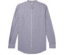 Noto Grandad-Collar Checked Cotton-Poplin Shirt