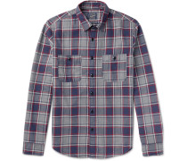 Slim-fit Plaid Cotton-flannel Shirt