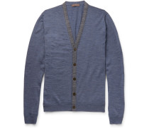 Contrast-trimmed Wool Cardigan