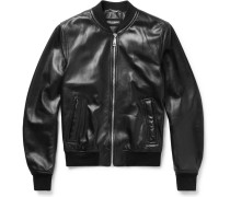 Oiled-leather Bomber Jacket
