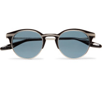 Roux Round-frame Acetate And Gunmetal-tone Titanium Sunglasses