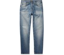 Steady Eddie Ii Tapered Distressed Organic Denim Jeans - Mid denim