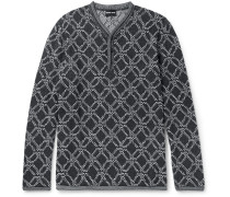 Jacquard-knit Henley Sweater