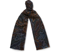 Paisley-print Wool And Silk-blend Scarf