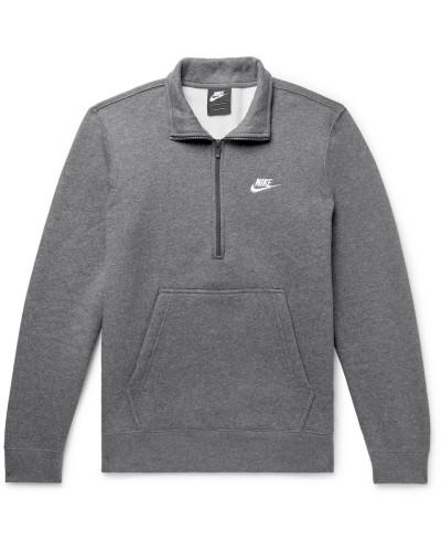 Sportswear Mélange Fleece-back Cotton-blend Half-zip Sweatshirt - Gray