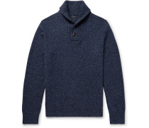 Shawl-collar Mélange Wool Sweater