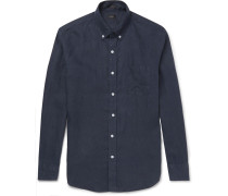 Slim-fit Button-down Collar Linen Shirt