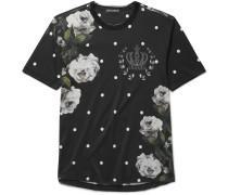 Raw-edge Printed Cotton-jersey T-shirt