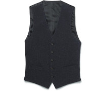 Blue Slim-fit Slub Cotton, Wool And Silk-blend Waistcoat