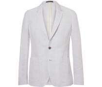 Blue Soho Slim-fit Linen-blend Suit Jacket