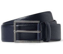 3.5cm Navy Cross-grain Leather Belt