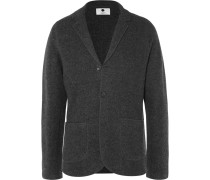 Grey Wallace Slim-fit Unstructured Boiled Wool Blazer