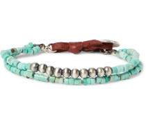 Turquoise, Sterling Silver And Leather Wrap Bracelet
