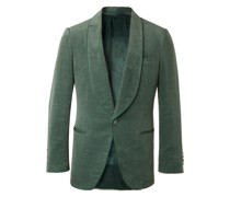 Slim-Fit Cotton and Linen-Blend Velvet Tuxedo Jacket