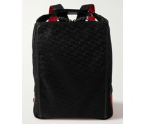 Leather-Trimmed Logo-Jacquard Coated-Canvas and Mesh Backpack