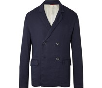 Unstructured Double-Breasted Stretch Linen-Blend Blazer