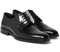 Studded Polished-leather Derby Shoes