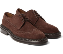 Leather-trimmed Suede Brogues