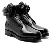Shearling-lined Pannelled Leather Boots