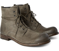 Bubble Burnished-suede Boots