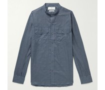 Grandad-Collar Checked Cotton-Twill Shirt