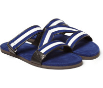Striped Grosgrain-trimmed Leather Sandals